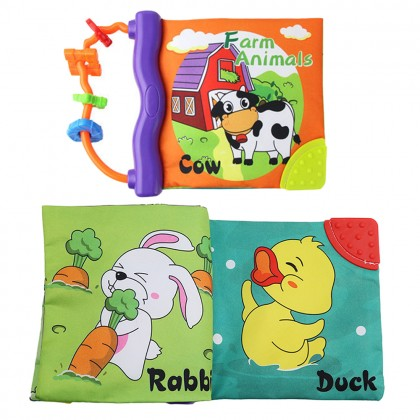 Baby & Infants Early Fun Learning Farm Animals Educational Cloth Non Toxic Soft Book Toys