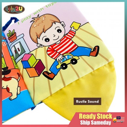 Infant Baby Soft Book Early Learning Cartoon Baby Kids Cloth Book-My Happy Day